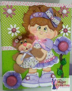 niña con osito Treasure Boxes, Box Design, Tapas, Princess Peach, Decoupage, Applique, Teddy Bear, Scrapbook, Dolls