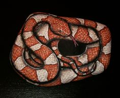 Hand Painted Rock Art - Trans-Pecos Copperhead Snake. This woman does lots of really cool realistic snakes