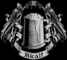Items similar to SKAL! T-Shirt Viking heathen pagan beer tankard cheers prost bier stein lager mead stout Sweden Norway Denmark mug drunk barbarian Valhalla on Etsy Art Viking, Viking Life, Viking Warrior, Viking Symbols, Norse Pagan, Norse Mythology, Taverna Medieval, Asatru, Norse Vikings