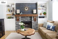 Rustic Modern Contemporary Living Room | The Lettered Cottage Blog | Fireplace Makeover | Barnwood Wall