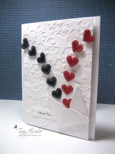 #patriotic card. like how those hearts are bursting...like fireworks. For My handmade greeting cards visit me at My Personal blog: http://stampingwithbibiana.blogspot.com/