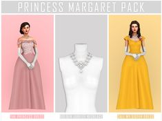 Princess Margaret Pack - BatsFromWesteros The Princess Dress: BGC 17 swatches - using Vintage Love Palette custom thumbnail shadow + bump map Golden Jubilee Necklace: BGC High Poly Custom. The Sims, Sims 4 Mm, Sims 4 Dresses, Formal Dresses, Victorian Dresses, Victorian Gothic, Gothic Lolita, Civil War Dress, Princess Margaret