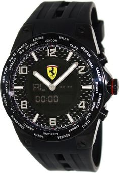 Men's Wrist Watches - Ferrari World Time Carbon Fiber Dial Multinfuction Rubber Strap Mens Watch FE05IPBFC -- Learn more by visiting the image link. (This is an Amazon affiliate link)