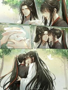 Covers the bunny's eyes, then jumps Lan Zhan's sexy bones. Hot Anime, Anime Love, Manga Anime, Cute Gay Couples, Anime Couples, Nezumi No 6, Mpreg Anime, L Death Note, Chinese Cartoon