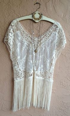 Bohemian romantic sheer top with fringe lace