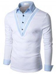 Doublju Mens Herringbone Shirt Layered Deep V-neck Pullover (KMTTL060)