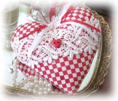 Sachet Heart, Heart Sachet, Red and White, Valentine Heart, with Lavender Buds,  Primitive Cloth Handmade CharlotteStyle Decorative Folk Art...