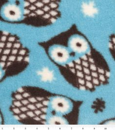 Ultra Cuddle Fabric-Owls Turquoise at Joann.com