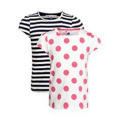 Buy John Lewis Girl Spot and Stripe T-Shirt Set, Pack of 2, Pink/Navy Online at johnlewis.com