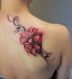 Tattoo Lily, Lily Flower Tattoos, Tattoo Henna, Tattoos For Women Flowers, Flower Tattoo Back, Flower Tattoo Shoulder, Lace Tattoo, Rose Tattoos, Pink Tattoos