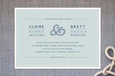 rope ampersand nautical wedding invite