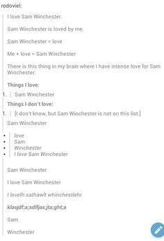 Just substitute Dean for Sam and it's perfect