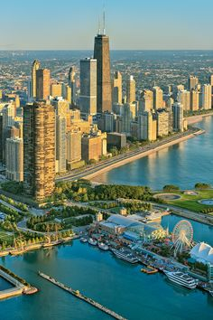 Chicago ~ Navy Pier, Lake Point Tower, John Hancock Center, Lake Michigan.