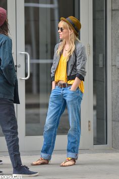 Sienna Miller's take on the look was the most casual and comfortable of all — making them perfect for a very lazy Sunday. Her oversize pair would have swallowed her frame if not for the cuffs and wide leather belt.