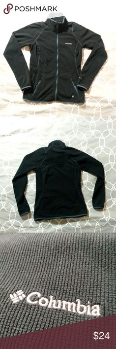 """Columbia Sportswear microfiber full-zip fleece This is a black/dark charcoal microfiber fleece jacket made by Columbia. Full zip, with two mesh pockets.   Four-way stretch material, both super absorbent and quick drying (doubles as a towel when camping), and warm while still being breathable. Super high quality fabric.  Size is XS, but fit may be between an XS and S  Chest is 16"""" across, stretches to 17"""" Sleeves are 25"""" Length is 24"""" from shoulder to hem Columbia Jackets & Coats"""