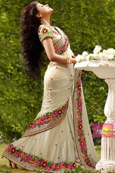 Stylish light cream party wear saree with embroidery lace border Party wear sarees,Embroidered sarees,Designer Collection Price:$107 matwali.com