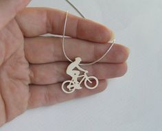 Sterling Silver Bicycle Necklace Pendant - Bicycle Rider Pendant - Hand Cut - Bicycle jewelry from Dalia Shamir Jewelry. Saved to My Jewelry. Ocean Jewelry, Mermaid Jewelry, Mermaid Necklace, Nautical Jewelry, Solid Gold Jewelry, Sterling Silver Jewelry, Golden Bike, Rider, Mermaid Pendant