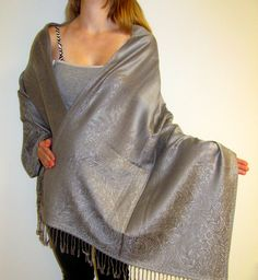 Silver & Grey Reversible Shawl Exquisite Trend just $44.99 - Giftr a reversible silk pashmina silver & grey evening wrap for that special woman in your life a unique shawl gift to remember!