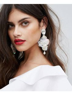 Buy Johnny Loves Rosie Sequin Statement Earrings at ASOS. Get the latest trends with ASOS now. Big Jewelry, Statement Jewelry, Jewelry Design, Vintage Jewelry, Beaded Brooch, Beaded Earrings, Bridal Earrings, Wedding Jewelry, Bridal Accessories