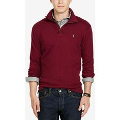 Polo Ralph Lauren Men's Estate Rib Half Zip Sweater ($50) ❤ liked on Polyvore featuring men's fashion, men's clothing, men's sweaters, monarch red, mens red sweater, polo ralph lauren mens sweater, mens sweaters, mens ribbed sweater and mens cotton sweaters