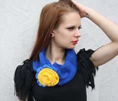 Womens scarves blue scarf with big yellow flower and by BiiZii