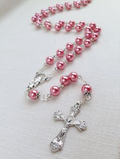 Miraculous Medal rose pink glass pearl catholic rosary