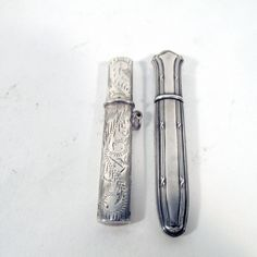 Pair Antique Sterling Silver Sewing Needle Cases For Chatelaine