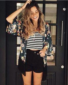 Kimono + shorts preto + blusa listras ♡♡♡