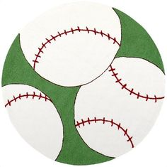 """8' Round Kids Round Area Rug Baseball Sports   From the nursery to the tween """"crib"""", the graphic and whimsical rugs of the Playground collection provide a backdrop of fun and inspiration for kids of any age. Hand hooked from 100% Poly Acrylic, each piece is resistant to stains, fading, and wear. The co"""