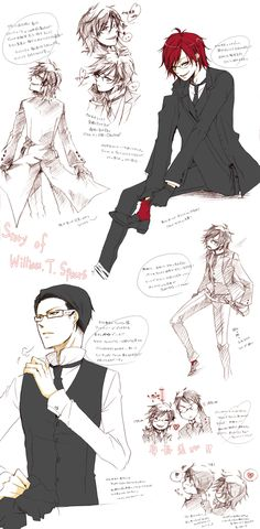 Black Butler ~~ In their younger days :: Grell Sutcliff & William T. It may not have been so fabulous as it is now, but it made him look so much more… … manly and sexy Grell Black Butler, Black Butler Kuroshitsuji, Best Animes Ever, Fanart, Version Francaise, Kaichou Wa Maid Sama, Ciel Phantomhive, Character Sheet, Shinigami