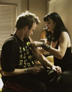 Jesse and Jane- Breaking Bad. Totally heartbreaking moment when he was giving her CPR.