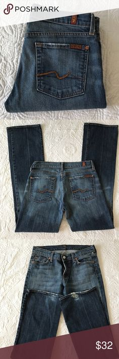 "7 for all Mankind jeans In good condition except fraying and a hole at the left bottom. Rise 8 inseam 33"" waist 31"". 99% cotton 2% elastane 7 For All Mankind Jeans Straight Leg"