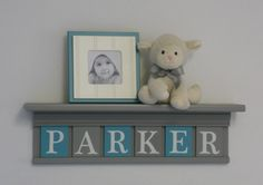 """Turquoise and Gray Name Shelves Customized for PARKER - 24"""" Grey Shelf - 6 Letter Blocks Teal and Gray, Personalized Baby Girl Nursery Decor by NelsonsGifts on Etsy"""