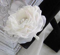 Wedding  Alternative Wrist Corsage Pearl Bracelet with Fabric Flower  by Burlap And Bling Design Studio