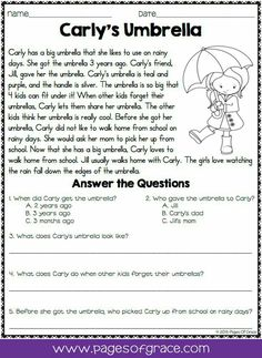 Reading Comprehension Passages and Questions for April Reading comprehension worksheets First Grade Reading Comprehension, Reading Comprehension Worksheets, Reading Fluency, Reading Passages, Reading Skills, Teaching Reading, Comprehension Questions, Passage Writing, Reading Response