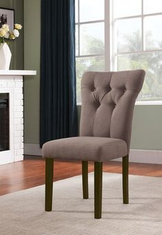Acme Furniture Light Brown Linen Effie Collection Dining Chair (set of 2) 71522