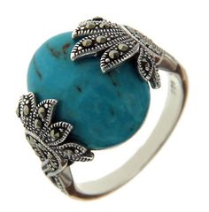 925 Sterling Silver Oval TURQUOISE and MARCASITE Ring Size 9 » R323