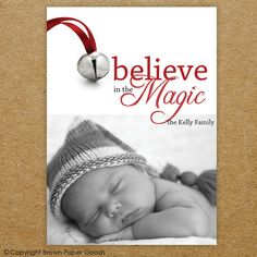 Photo Christmas Card   Believe in the magic   #photochristmascard  #brownpapergoods