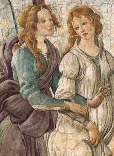 Sandro Botticelli, Detail of Gifts of Venus and the Three Graces (Fresco) renaissance Giorgio Vasari, Renaissance Kunst, Renaissance Paintings, Italian Painters, Classical Art, Italian Art, Michelangelo, Art Plastique, Beautiful Paintings