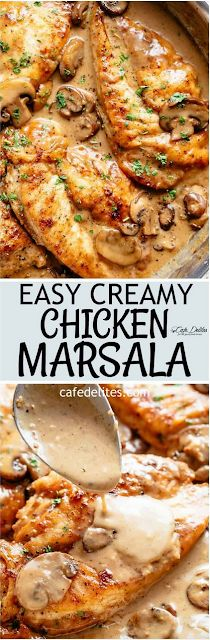 Chicken Marsala in a thick and creamy mushroom sauce rivals any restaurant! One of the most sought after dishes served in restaurants is super fast and easy to make in your very own kitchen! A flavourful chicken dinner with plenty of sauce to serve over y Turkey Recipes, Meat Recipes, Chicken Recipes, Dinner Recipes, Cooking Recipes, Healthy Recipes, Zoodle Recipes, Tagine Recipes, Portuguese Recipes
