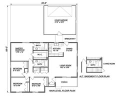 Very simple and compact. If we could get all of the ancillary bedrooms up to at least 10x10, I'd be good.  Traditional 4 Beds 2 Baths 1369 Sq/Ft Plan #116-302 Main Floor Plan - Houseplans.com