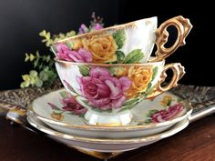 Opalescent Teacups. 2 Pearlized Tea Cups and Saucers, Vintage Bone China, 14139