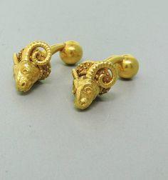 Ram's Head Gold Cufflinks   From a unique collection of vintage cufflinks at https://www.1stdibs.com/jewelry/cufflinks/cufflinks/ $1,800