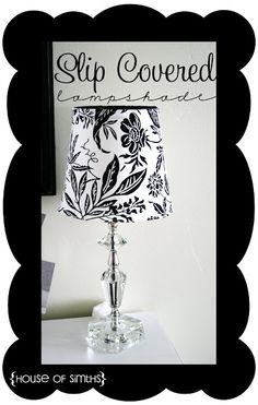 Lampshade upcycle - slip cover! genius way to swap in different decor schemes.  Also has a sneaky cord cover, why didn't I think of that?