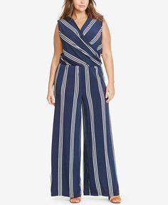 Lauren Ralph Lauren Plus Size Striped Jersey Jumpsuit - Graphic Impact - Plus Sizes - Macy's
