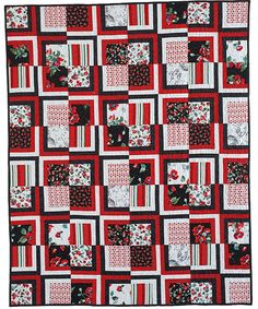 OP ART POPPIES by Heidi Pridemore: The graphic prints in this quilt are set off beautifully by the textured solid strips of black, white and red. Study the quilt photo and diagrams closely, and you'll notice that each print square is paired with the same color rectangles throughout the quilt, and the matching blocks are placed in diagonal rows. Pattern in the April/May 2017 issue of McCall's Quick Quilts magazine.