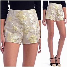 Holiday Sale! Nasty Gal metallic floral shorts ‼PRICE FIRM UNLESS BUNDLED!! These are one of the rare pairs of shorts you can wear all year round (they look GREAT with leggings or tights)! Brand is Arc & Co from the Nasty Gal store! High-waisted gold and silver metallic floral brocade patterned shorts with a soft beige background color. Side zip and clasp closure. High waisted, 11 inch rise, 1 inch inseam, 12 inch outseam. Perfect for the winter and fall holidays! Never worn. Aside from a…