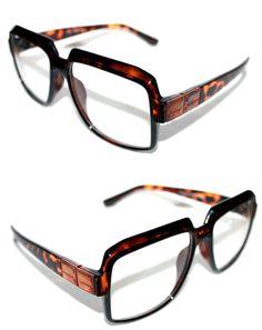 1fb7483bcd7f Mens Women Vintage 607 Hip Hop Clear Lens Eye Glasses Run DMC Brown Stain  Bronze  Stars  Square