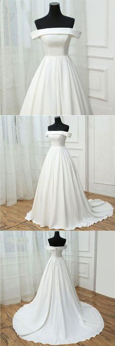 SIMPLE WHITE SATIN LONG PROM DRESS, WHITE EVENING DRESS M2240