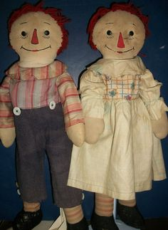 Pair of Early Hand Made  Raggedy Ann / Andy Dolls - 1930's